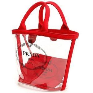 Prada New Cr Plexi Shopper Red Polyurethane Tote